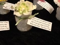 Mothers Day Gift Idea  Bath Sea Salts in baby jar with flowers hot glued on top and tie ribbon around it with tea bag and poem.  Poem says.   Here's a gift for Mothers Day.  I'll try my best in every way.   But if you get upset with me....  Relax and soak!! And have a Tea!