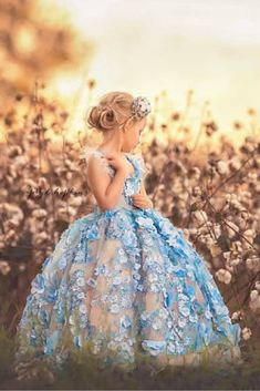 Beautiful blue Flower Girl Dress from AloraSafari on Etsy. Let her be a princess for a day! #FlowerGirl #Sponsored #Wedding