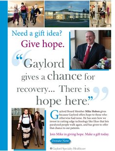"A GIFT THAT LASTS ALL YEAR: While the thrill of unwrapping gifts may fade your year-end financial gift to Gaylord provides resources and hope all year long. We would deeply appreciate being on your giving list this year. Every gift will impact a life. Click the ""Donate Today"" button make a secure credit card donation at: http://www.gaylord.org/general-information/donor-support.aspx"