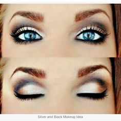 Gorgeous silver, brown, and black makeup idea for blue eyes