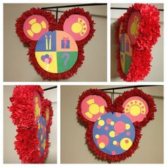 """""""Oh Toodles"""" piñata finally done! Can't wait to see my son's face light up when he sees his Mickey Mouse birthday decorations!"""