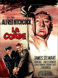 re-release French grande for ROPE (Alfred Hitchcock, USA, Artist: Roger Soubie [see also] Poster source: Heritage Auctions Alfred Hitchcock, Hitchcock Film, Classic Movie Posters, Movie Poster Art, Classic Movies, Old Movies, Vintage Movies, Great Movies, Film Vintage