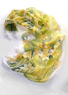 Silk scarf Daffodils scarf hand painted scarf by MinkuLUL