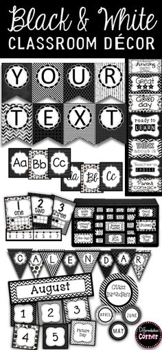 Black and White Classroom Decor Theme, includes classroom jobs, calendar and birthday bulletin board, editable labels and much more! You will love this black and white classroom theme for classroom organization and classroom management! Red Classroom, Classroom Calendar, Classroom Decor Themes, Classroom Jobs, Preschool Classroom, Future Classroom, Classroom Management, Monster Classroom, Kindergarten