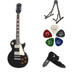 Epiphone Les Paul STANDARD Electric Guitar (Ebony) Accessory Bundle with Stand, Picks, and Strap