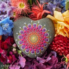 Mandala Stone Heart by Elspeth McLean heart Mandala Print, Mandala Painting, Dot Painting, Stone Painting, Mandala Painted Rocks, Mandala Rocks, Painted Stones, Christmas Pebble Art, Wicca