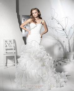 Luxury Trumpet / Mermaid One Shoulder Floor-length Organza White Wedding Dresses - $196.99 - Trendget.com