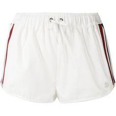 Moncler Gamme Rouge drawstring stripe panel shorts (£490) ❤ liked on Polyvore featuring shorts, white, striped shorts, drawstring shorts, stripe shorts, white drawstring shorts and moncler gamme rouge