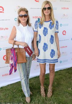 Such a cute blue-patterned dress Nicky Hilton is wearing.