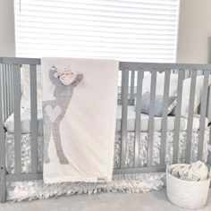 Baby Girl Woodland Boho Fawn with Flower Crown Blanket in Gray and White Dreamy Nursery