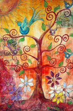 Tree Of Life Painting, Tree Of Life Art, Tree Art, Art Journal Inspiration, Painting Inspiration, Karla Gerard, Modern Art Paintings, Identity Art, Illustrations