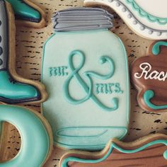 Bridal shower cookies royal icing mason jars 35 ideas for 2019 Cut Out Cookies, Iced Cookies, Cute Cookies, Royal Icing Cookies, Cupcake Cookies, Sugar Cookies, Wedding Shower Cookies, Cookie Wedding Favors, Cookie Favors