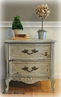 Wow, just wow. This old nightstand was turned from drab to fab!