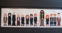 Harry Potter and the lot (cross stitch)stitched from patterns from the Wee Little Stitches etsy shop.