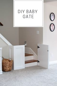 DIY baby gate to work around a bottom step that sticks out, and no banister on the other side! Wood Baby Gate, Diy Baby Gate, Baby Gates, Wooden Stair Gate, Child Gates, Stairs Without Banister, Banister Baby Gate, Dog Gates For Stairs, Diy Gate