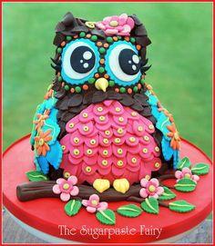 Valentines Owl - cake by The Sugarpaste Fairy Pretty Cakes, Beautiful Cakes, Amazing Cakes, Take The Cake, Love Cake, Cupcakes, Cupcake Cakes, Dessert Oreo, Foundant