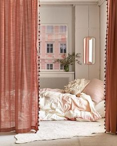 Urban outfitters curtains - 21 Products That Will Completely Transform Your Closet Closet Curtains, Diy Curtains, Bedroom Curtains, Kitchen Curtains, Closet Doors, Room Divider Curtain, Vintage Curtains, White Curtains, Curtains With Pom Poms