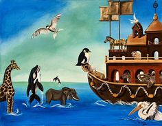 NOAH'S ARK by Susan Culver- This winsome seascape depicts Noah's ark, with its merry bands of animal shipmates..