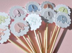 Elephant Cupcake Toppers  Baby Shower Cupcake by suziescards