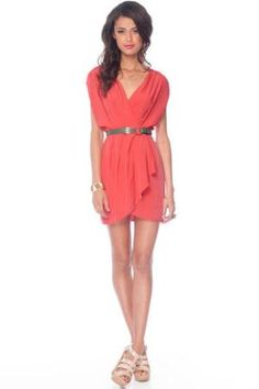 New Colors on the Block Belted Dress in Coral :: tobi