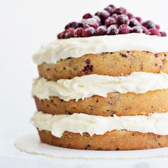 Traditional cranberry bread gets an upgrade as a fluffy cranberry holiday cake. This 'naked' layer cake style is doable no matter your baking skill level.