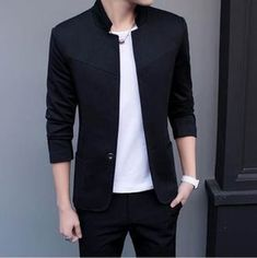 Men Suits New Spring and Autumn thin Casual Men Blazer Cotton Slim Chinese style Suit Blaser Masculino Male Jacket Blazer Men Size Blazer Outfits Men, Mens Fashion Blazer, Suit Fashion, Men Blazer, New Mens Fashion, Blazer Jacket, Blazers For Men Casual, Casual Blazer, Casual Jackets