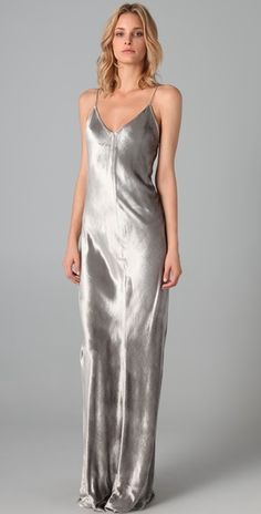 T By Alexander Wang Silver Panne Velvet Cami Long Dress