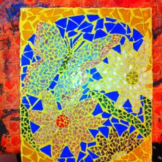 Mosaic scene with bright yellow grout!