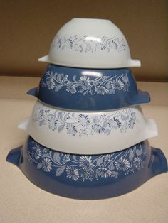 Pyrex mixing bowls! Momma has them and I have a more recent version.  I love the blue and white.