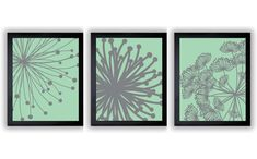 Mint Green Grey Gray Solid Flower Flowers Set by CustomArtPrints, $6.00