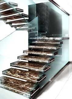 M :: Marble Staircase by Sandrini Scale Beautiful Architecture, Beautiful Buildings, Staircase Design, Marble Staircase, Escalier Design, Glass Stairs, Stair Detail, Modern Stairs, Stairway To Heaven