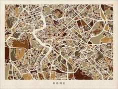 Rome Italy Street Map Art Print - Etsy