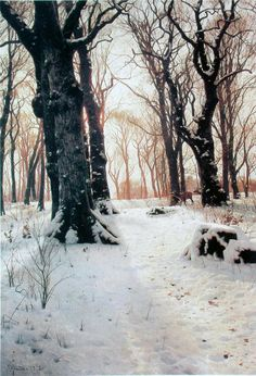 A Wooded Winter Landscape with Deer (1912) - Peder Mørk Mønsted
