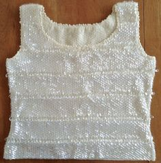 Vintage 1960s Sequin Bead Sweater Top Wool Stretch Knit Sleeveless Ivory Medium #Unbranded #SequinSweaterTop
