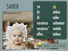 "conjugations of the verb ""saber"" / el verbo saber conjugado Spanish Jokes, Spanish Grammar, Spanish Vocabulary, Spanish English, Spanish Language Learning, Spanish Teacher, Spanish Classroom, Teaching Spanish, Spanish Lesson Plans"