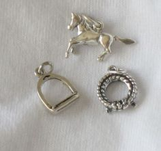 Charms, Animals: Stirrup, Rope, Horse Sterling Silver Charms (3) #Traditional