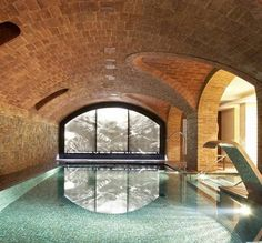 If you feel the need to swim but don't want to venture outside... domed ceiling for resistance pool