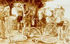 Beer Break at the Tour de France, painted using beer by Karen Eland. $20.00, via Etsy.