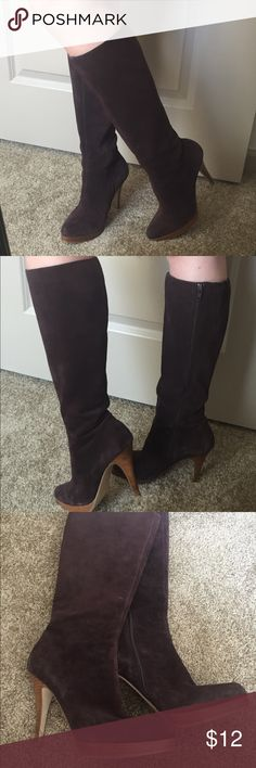 Knee high brown suede boots by Steve Madden Stylish Knee high boots, brown suede with wood platform.  Great go to boot for going out or at this price use it for costume dress up.  Pricing these to sell as there is slight damage at the base of one of the heels, the wood material was scraped however I have another pair that I took to a shoe repair man and they were able to cover/fix it for $8.  Inside of boot has wear to the faux leather but absolutely can't be seen while wearing them.  Make…