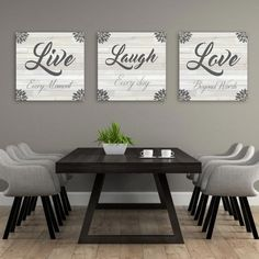 Live Laugh Love Wall Decor Add some love and character to home decor with this set of 3 canvases that say Live Laugh Love. Live Laugh Love Wall Decor Add some love and character to home decor with this set of 3 canvases that say Diy Wall Decor, Home Decor Wall Art, Diy Home Decor, Dining Wall Decor Ideas, Wall Decor Quotes, Kitchen Wall Art Decor, Decor For Walls, Wall Ideas, Kitchen Wall Decorations
