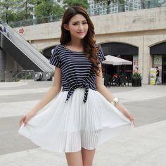 Cute Fashion Women Mini Chiffon Dress Pleated Tank Dress Striped T-shirt Two-Piece White
