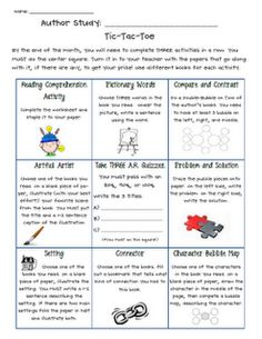 Author Study Activities- kids will love having a choice about what to do!