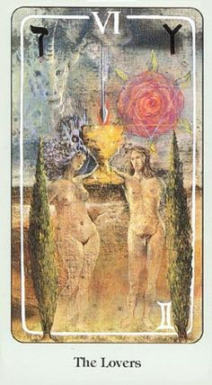 The dreamlike Lovers card from the Haindl Tarot
