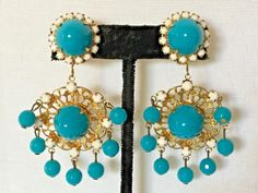 KENNETH JAY LANE KJL Chandelier Earrings Turquoise/White Filigree #KennethJayLane #Chandelier