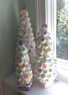 3 White Candyland Inspired Christmas Tree Decorations Centerpieces Photo Props