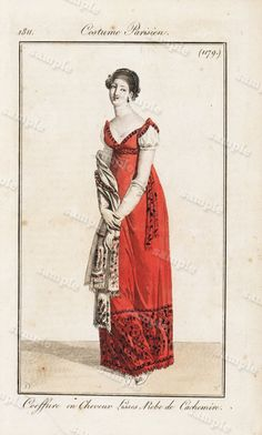 1811 French Costume Persian Hand Colored Engraving From Costume Parisien by Horace Vernet Le Journal des Dames et des Modes