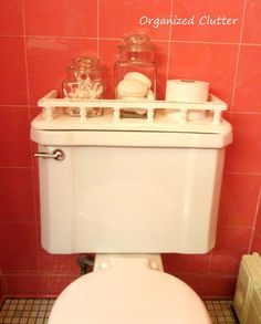a vintage toilet tank shelf makeover, bathroom ideas, home decor, repurposing upcycling, shelving ideas, The shelf fit perfectly on my vintage toilet tank