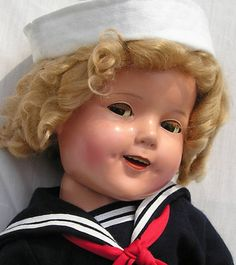 """Vintage Ideal 27"""" Composition Flirty Eye Shirley Temple Doll 1930s my favorite Captain January"""
