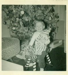 """Vintage Christmas Photo ~ Christmas Morning * Girl Sitting On Zebra Riding Toy * Photo inscribed with """"Lee Ann at 22 mos ~ Christmas 1956"""""""