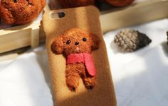 Needle Felted Animal Phone Cases, Needle felt dog, The three-dimensional Teddy, Creative products design for iPhone, iPhone 6/7